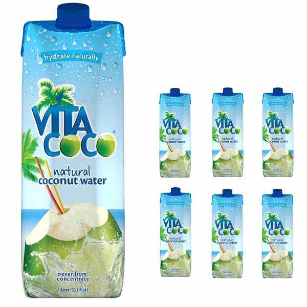 Vita coco - 100% pure eau de coco - Le lot de 6 bouteilles 1L - Lot 6 bouteilles d'1L