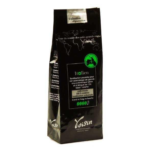Voisin chocolatier torréfacteur Café moulu - goût italien - 100% Arabica - Force 4/5 - 6 sachets de 250g