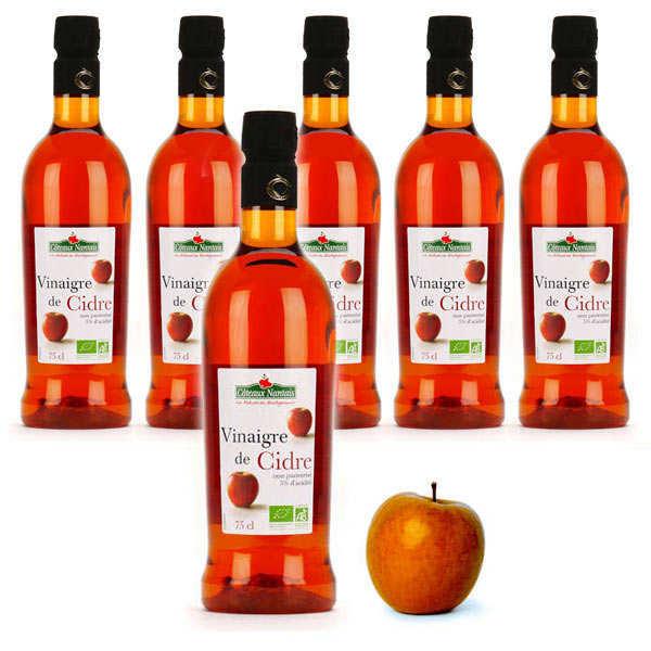 Coteaux Nantais Vinaigre de cidre bio sans sulfite non pasteurisé  - Offre spéciale 6 bouteilles - 6 bouteilles de 75cl