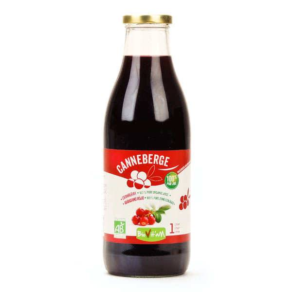 Biovitam 100% pur jus de canneberge bio (cranberry) - Bouteille verre 1L