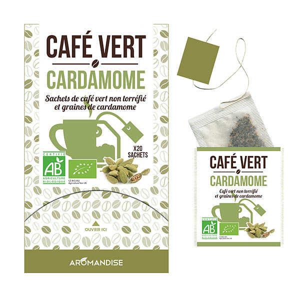 Aromandise Café vert en sachet à la cardamome bio - 3 boites de 20 sachets
