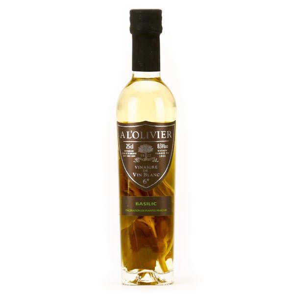 A L'Olivier Vinaigre de vin blanc au basilic - Bouteille verre 250ml