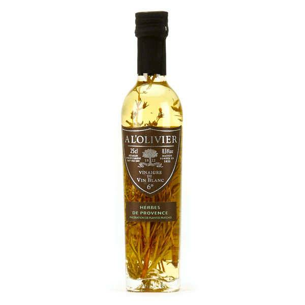 A L'Olivier Vinaigre de vin blanc aux herbes de Provence - Bouteille verre 250ml
