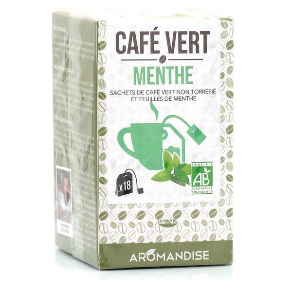 Aromandise Café vert à la menthe bio en sachet à infuser - Boite 18 sachets de 3g