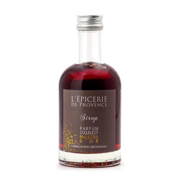 Epicerie de Provence Sirop paillettes d'or saveur coquelicot - Bouteille 25cl
