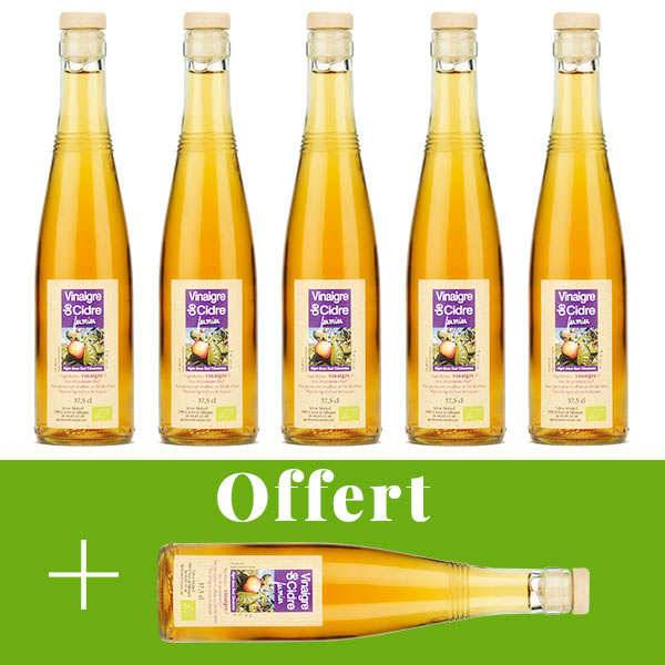 Aigre-doux Sud Cévennes Vinaigre artisanal de cidre bio sans sulfite - 5 + 1 offert - 5 bouteilles de 37.5cl + 1 offerte