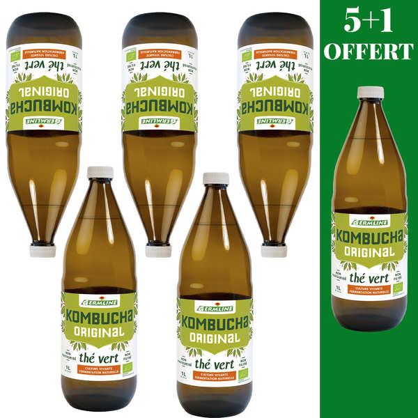 Germline Kombucha, boisson lactofermentée bio - 5 + 1 offert - 5 bouteilles de 1L + 1 offerte