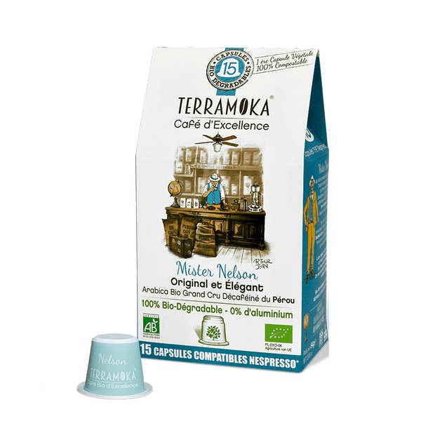 Terra Moka Nelson décaféiné - Capsules de café bio compatibles Nespresso® et biodégradables - Boîte 15 capsules