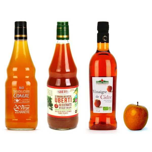 BienManger.com Assortiment de vinaigres de cidre bio - 3 bouteilles de 75cl