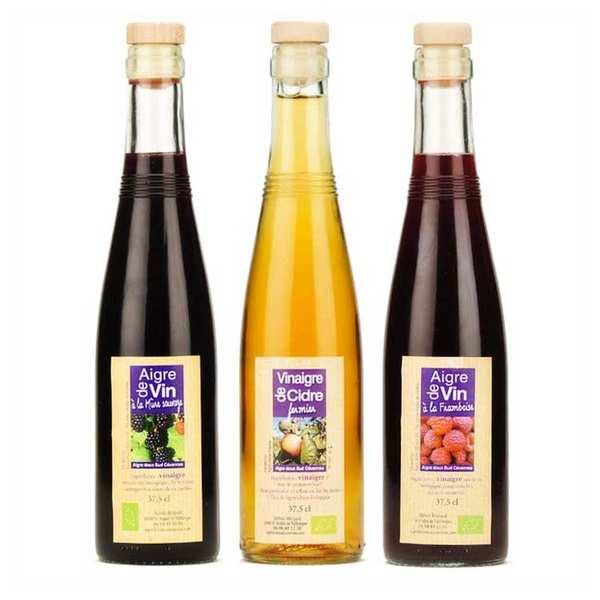 Aigre-doux Sud Cévennes Assortiment de vinaigres artisanaux fruités - 3 bouteilles de 37.5cl