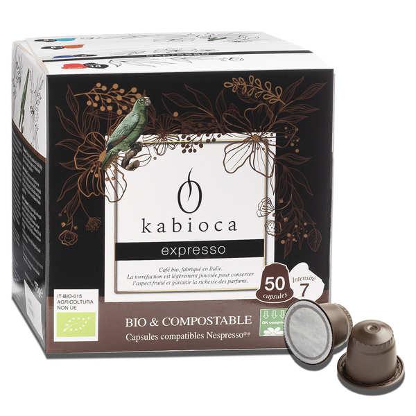 Kabioca Café Expresso bio et compostable, capsules compatibles Nespresso® - Boîte de 50 capsules