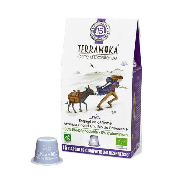 Terra Moka Inès - Capsules de café bio compatibles Nespresso® biodégradables - Boite 15 capsules