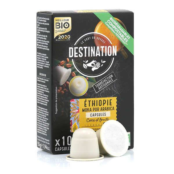 Origines Tea and Coffee Café bio Ethiopie, capsules compatibles Nespresso® - Intensité 7/10 - Boîte 10 capsules