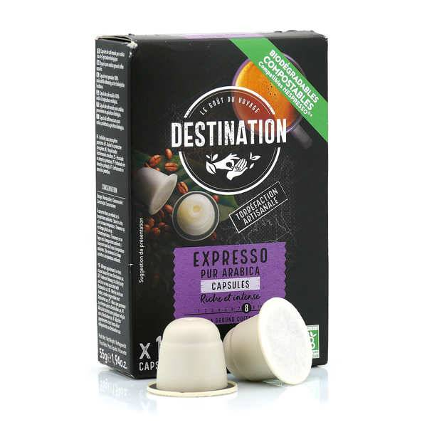 Origines Tea and Coffee Café bio Expresso, capsules compatibles Nespresso® - Force 8/10 - Boite de 10 capsules