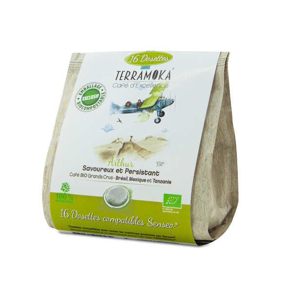 Terra Moka Arthur - Dosettes de café bio compatibles Senseo® et biodégradables - 16 dosettes