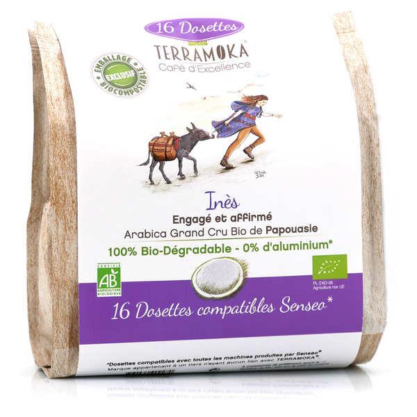 Terra Moka Inès - Dosettes de café bio de Papouasie compatibles Senseo® et biodégradables - Paquet de 16 dosettes
