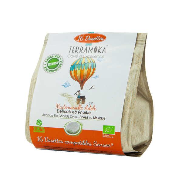 Terra Moka Adèle - Dosettes de café bio compatibles Senseo® et biodégradables - Paquet de 16 dosettes