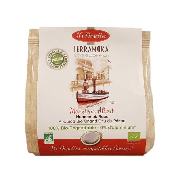 Terra Moka Albert - Dosettes de café bio compatibles Senseo® biodégradables - Paquet de 16 dosettes
