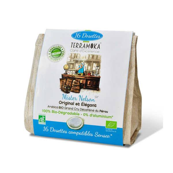 Terra Moka Nelson décaféiné - Dosettes de café bio compatibles Senseo® et biodégradables - Paquet de 16 dosettes
