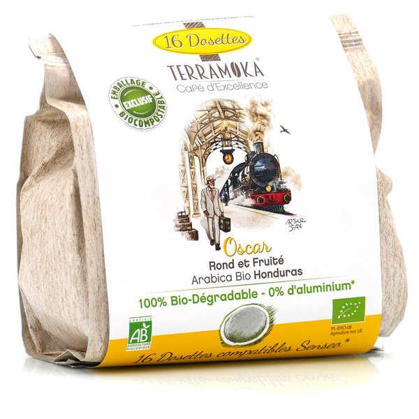 Terra Moka Oscar - Dosettes de café bio compatibles Senseo® et biodégradables - Paquet de 16 dosettes