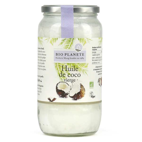 BioPlanète Huile vierge de coco Bio - Lot 3 bocaux 1L
