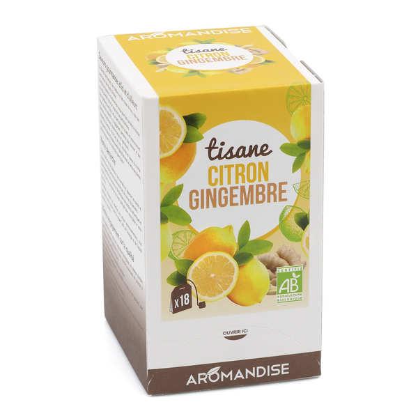 Aromandise Tisane bio Gingembre Citron en infusettes - Lot de 4 boîtes