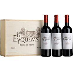 Château Les Eyquems Côtes de Bourg - Coffret bois 3 bouteilles - Vin rouge - 2016 - Coffret 3 bouteilles de 75cl