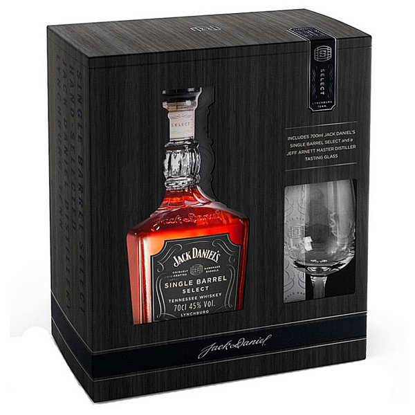 Jack Daniel's Whisky Jack Daniel's Single Barrel Select coffret dégustation 1 verre - Bouteille 70cl + 1 verre