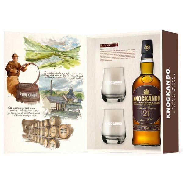 Knockando master reserve 21 ans - coffret whisky 2 verres - single malt 43% - Coffret tradition bouteille 70 cl + 2 verres