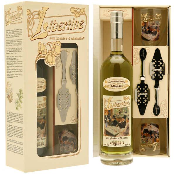 Distillerie Paul Devoille Coffret Libertine originale - Spiritueux aux plantes d'absinthe - 55% - Coffret bouteille 70cl, 2 verres, 2 cuillères