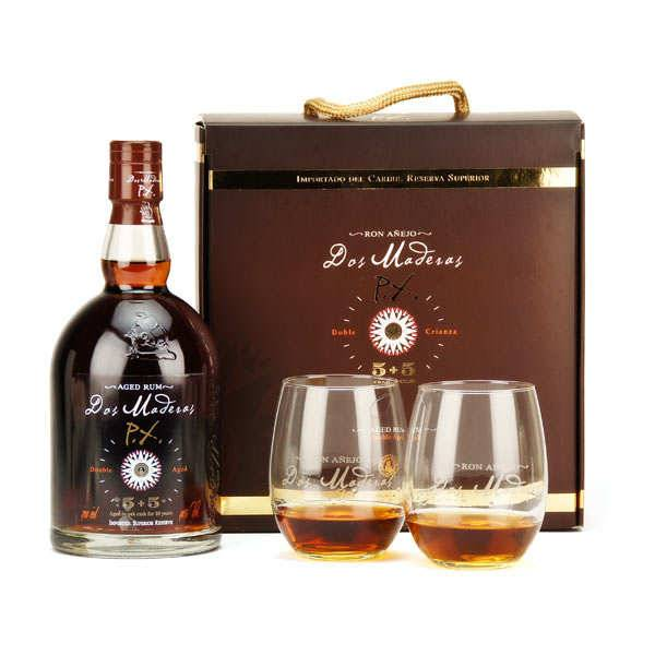 Bodegas William & Humbert Coffret 2 verres rhum Dos Maderas 10 ans PX 5+5 - Coffret bouteille 70cl + 2verres