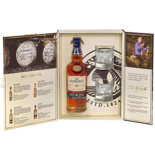 Glenlivet Whisky the Glenlivet 18 ans d'âge - coffret avec 2 verres - Bouteille 70cl en étui + 2 verres