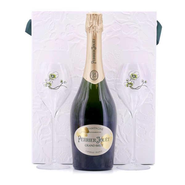 Champagne Perrier-Jouët Champagne Perrier Jouët grand brut - Coffret 2 verres - Bouteille 75cl + 2 flûtes