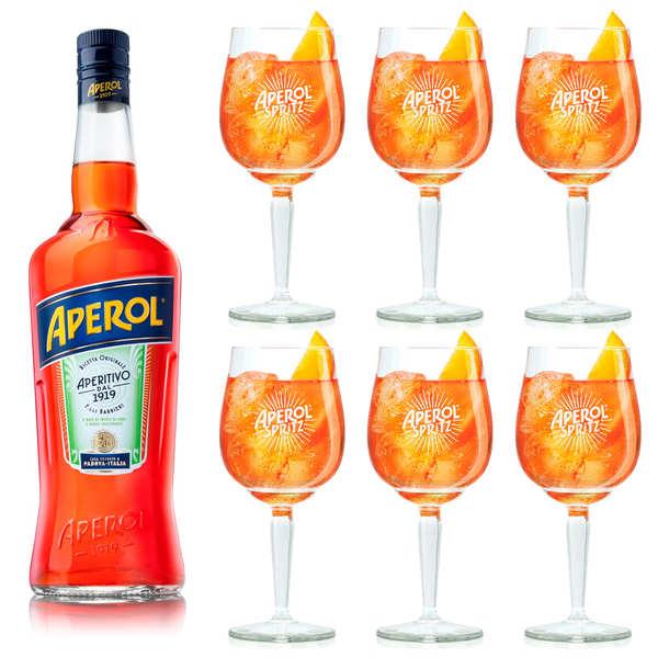 Apérol Lot Aperol 15% + 6 verres à pied - 1 bouteille de 70cl + 6 verres à pied