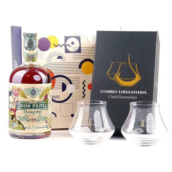 Bleeding heart rum company Coffret dégustation Rhum Don Papa 2 verres - Coffret 1 bouteille 70cl + 2 verres