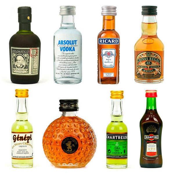 BienManger.com Assortiment découverte d'alcools en version mignonnettes - Lot de 8 mignonnettes