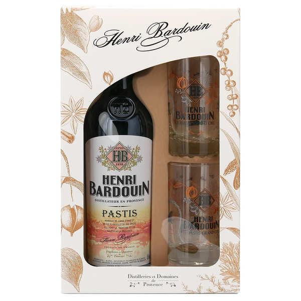 Distilleries et Domaines de Provence Coffret signature Pastis Henri Bardouin (45%) et 2 verres - Bouteille 70cl + 2 verres