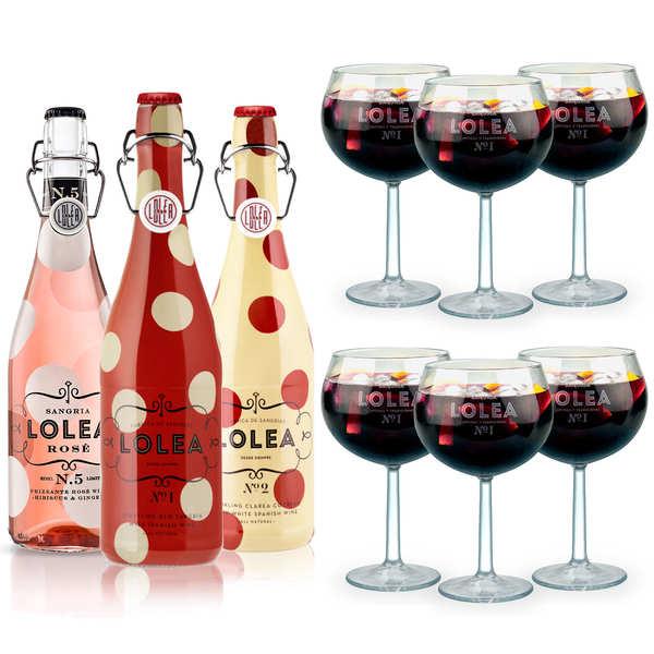 Lolea Assortiment premium sangrias Lolea et leurs verres - 3 bouteilles de 75cl + 6 verres à ballon