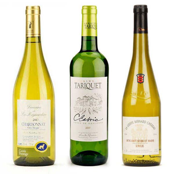 BienManger.com Assortiment de 3 vins blancs secs - 3 bouteilles de 75cl