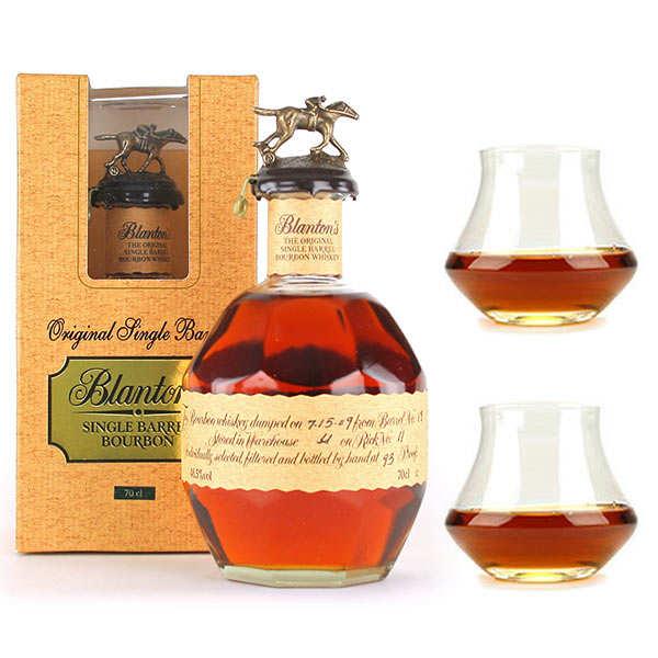 Blanton Distilling Company Whisky Bourbon Blanton's Original single barrel 46,5% et ses 2 verres - 1 bouteille de 70cl et 2 verres