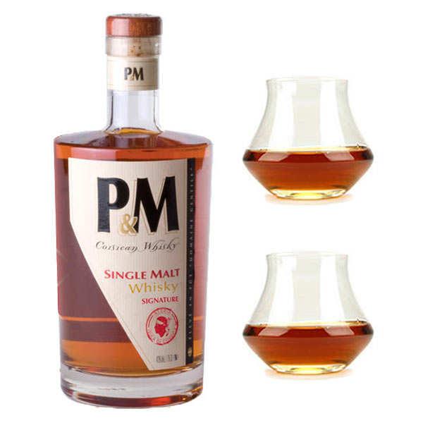 Distillerie Mavela Whisky Corse P&M Single Malt Signature 42% et ses 2 verres de dégustation - 1 bouteille de 70cl et 2 verres