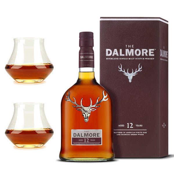 Dalmore Assortiment whisky Dalmore 12 ans 40% et 2 verres de dégustation - 1 bouteille de 70cl et 2 verres