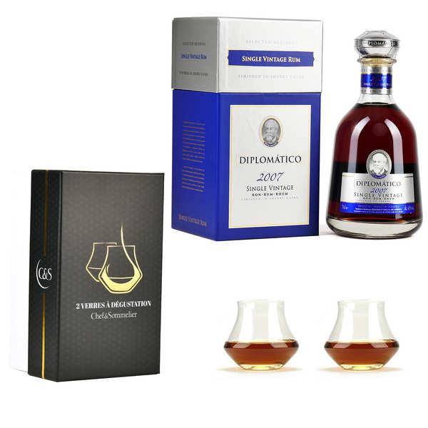 Destilerias Unidas Rhum Diplomatico Single Vintage 43% et 2 verres de dégustation - 1 bouteille de 70cl et 2 verres