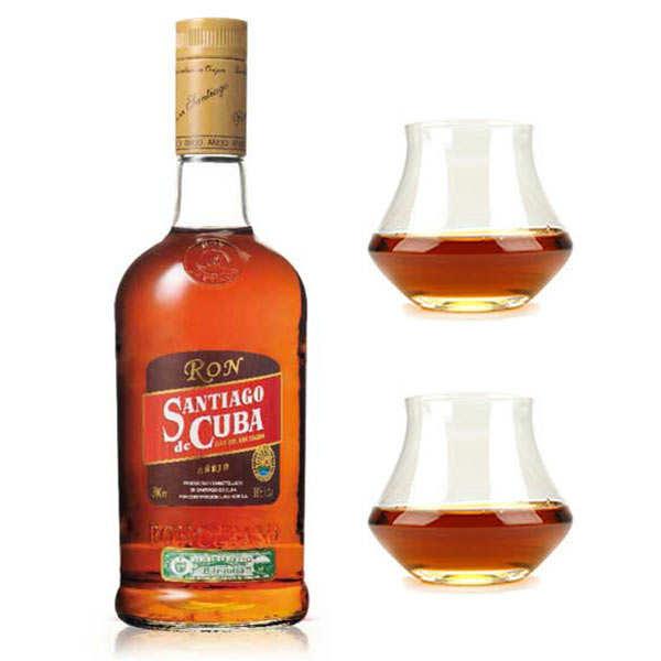 Santiago de Cuba Rhum AÑEJO Santiago de Cuba 38% et ses 2 verres de dégustation - 1 bouteille de 70cl et 2 verres