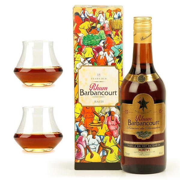 Barbancourt Assortiment rhum Barbancourt Réserve du domaine 15 ans 43% et 2 verres - 1 bouteille de 70cl et 2 verres