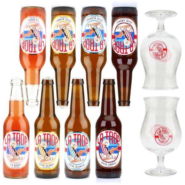 Brasserie Carteron Assortiment de 8 bières La Trop et 2 verres de dégustation - 8 bouteilles de 33cl + 2 verres