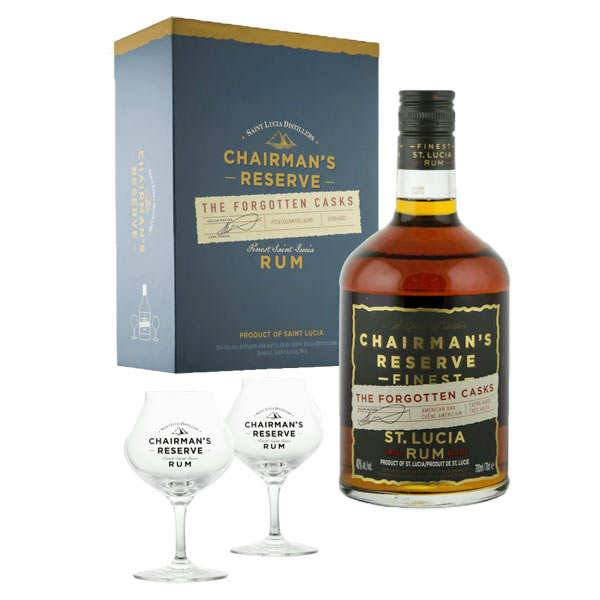 Santa Lucia Distillers Rhum Chairman's Reserve Forgotten Cask - Coffret 2 verres -  40% - Bouteille 70cl + 2 verres