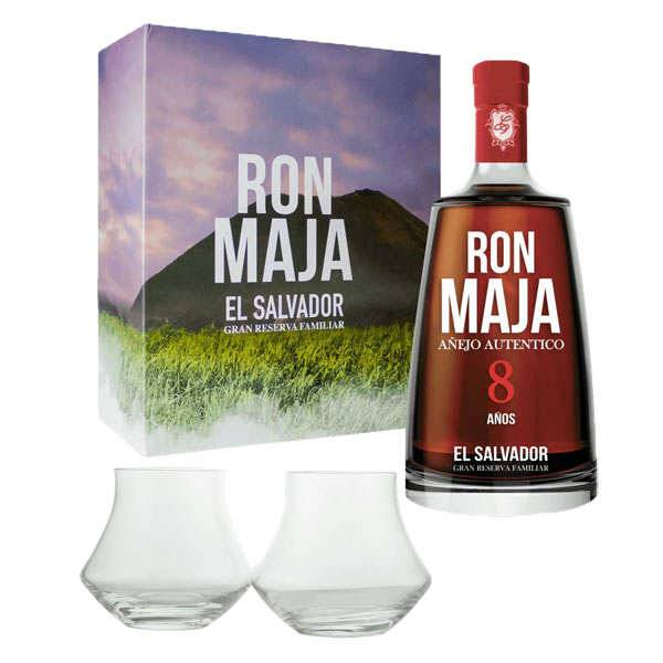 Maja Rhum Maja 8 - Coffret 2 verres -  40% - Bouteille 70cl + 2 verres