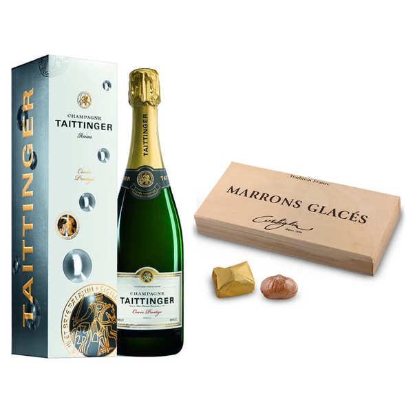 BienManger.com Assortiment premium Champagne et marrons glacés - 1 bouteille de 75cl et 1 coffret de 18 marrons