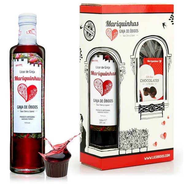 Mariquinhas Ginja de Obidos et verres en chocolat - Liqueur de cerise griotte du Portugal 18% - Bouteille 50cl + 12 verres en chocolat